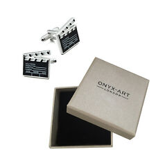 Mens Black Clapper Board Movie Style Cufflinks & Gift Box By Onyx Art