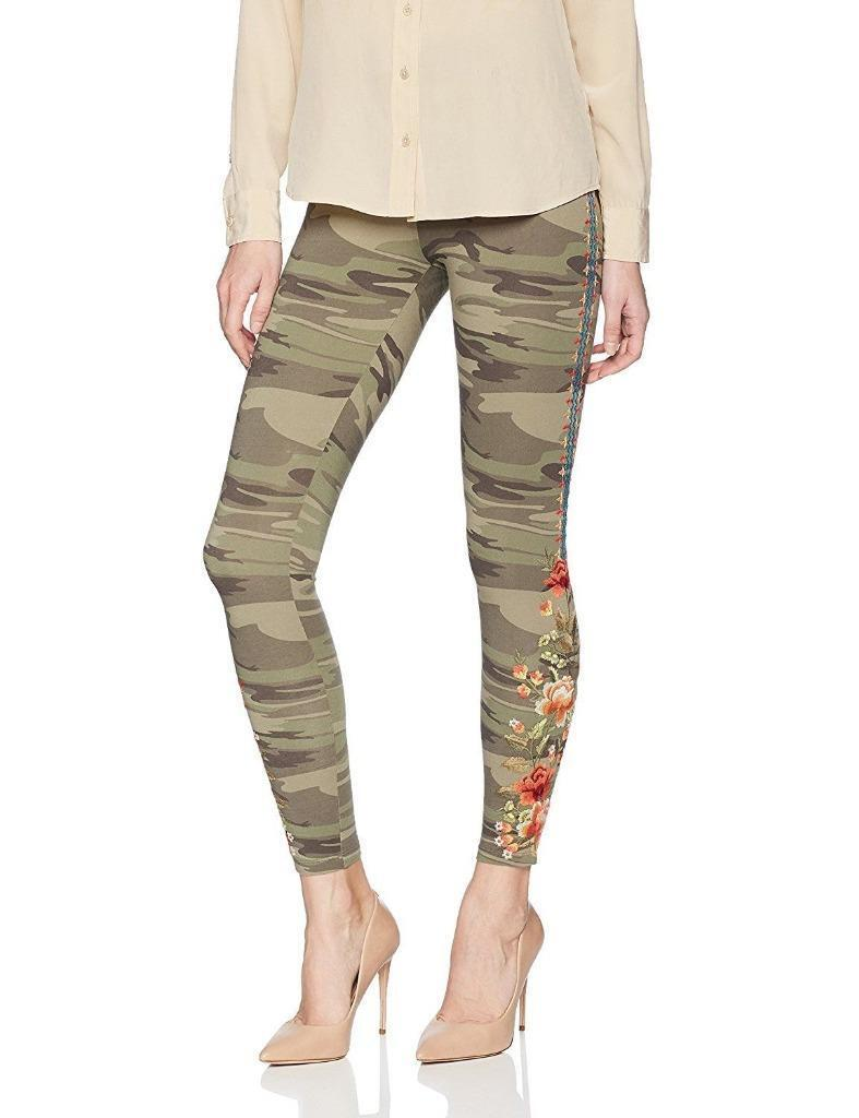 NWT JWLA By Johnny Was Camouflage LIBBIE Embroidered Leggings