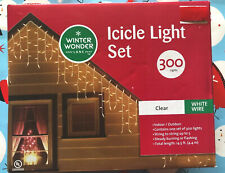 Winter Wonder Lane Blue Icicle Light Set White Wire Indoor Outdoor 300 Lights