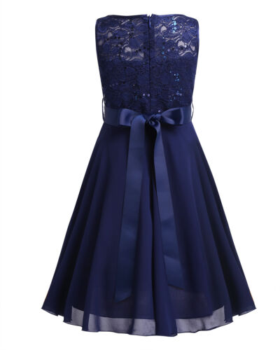 Girls Sequins Lace Chiffon Flower Girl Dress Princess Pageant Wedding Bridesmaid