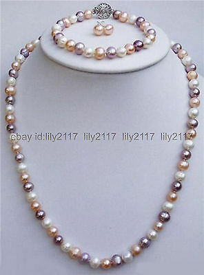 7-8mm Natural Purple Akoya Cultured Pearl Necklace 18/'/' Earring Set