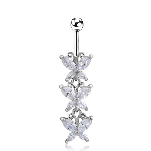 Fashion Zircon Butterfly Pendant Belly Button Ring Surgical Steel Body Piercing
