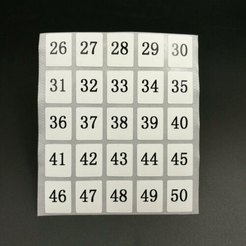 """400 Number Stickers 1 To 100 Waterproof Black Letters White Sticker 0.62/""""x0.51/"""""""