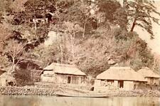 "Albumen image c1880's Historic Japan ""A Farmers House"" river boat village stone"
