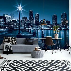 Wallpaper Mural For Bedroom Living Room Walls Blue City Skyline At Night Ebay