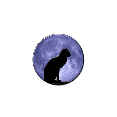 Halloween Black Cat Moon Metal Lapel Hat Pin Tie Tack Pinback
