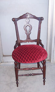 Beautiful Carved Walnut Eastlake Accent Chair SC109