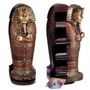 Ancient-Egyptian-King-Tutankhamen-Sarcophagus-Hand-Painted-Exquisite-CD-Cabinet