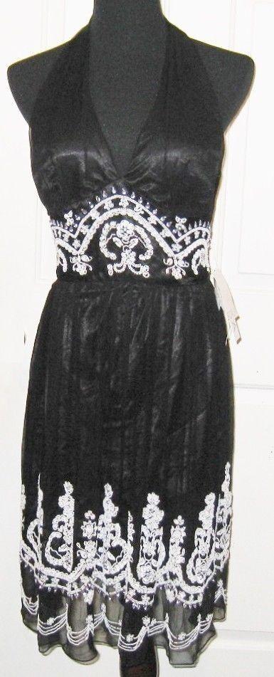 Scala schwarz Weiß Bead & Rhinestone 100% Silk Formal Halter Dress, L - MSRP