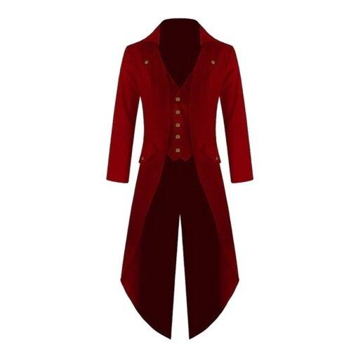 Men Retro Victorian Steampunk Coat Gothic Tailcoat Jacket Ringmaster Tailcoat