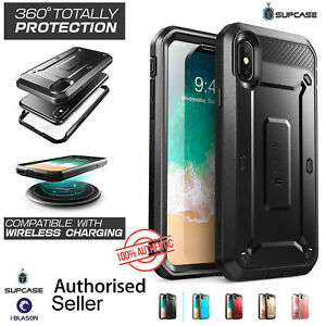 huge discount 5dffe 3d42a Details about SUPCASE iPhone X Case, Full-Body Beetle Pro Holster Case with  Screen Protector