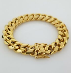 Men-18K-Yellow-Gold-Stainless-Steel-Box-Clasp-14mm-Miami-Cuban-Link-Bracelet