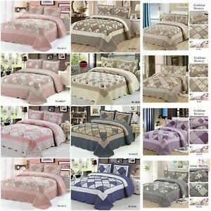 Colcha-de-retales-con-2-Almohadas-Ropa-de-Cama-Edredon-Cobertor-Acolchado-Doble-King