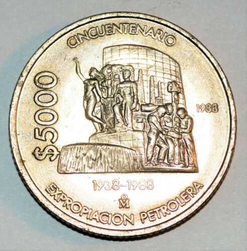1988 $5000 PESOS coin MEXICO large 50th Nationalization Oil Industry HIGH GRADE