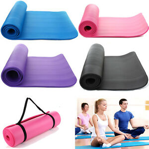 Extra-Thick-Non-slip-15mm-Yoga-Mat-Pad-Cushion-Exercise-Fitness-Pilates-w-Strap