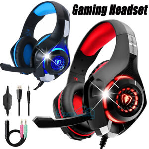 Pro Gaming Headset With Mic LED Headphones Microphone Beats For PC Xbox One PS4
