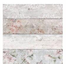 Panel de madera Madera Tablón wallpaper efecto país Vintage Floral Blanco Rosa Gris