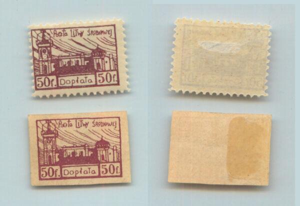 2019 Nouveau Style Centrale De Lituanie 1920 Sc J1 Comme Neuf Imperf Gris Papier. Rtb993