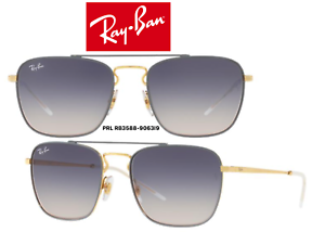 64867eefe8d Details about Ray-Ban RB3588 9063I9 Sunglasses Gray Gold Blue Gradient  Square 100% Authentic