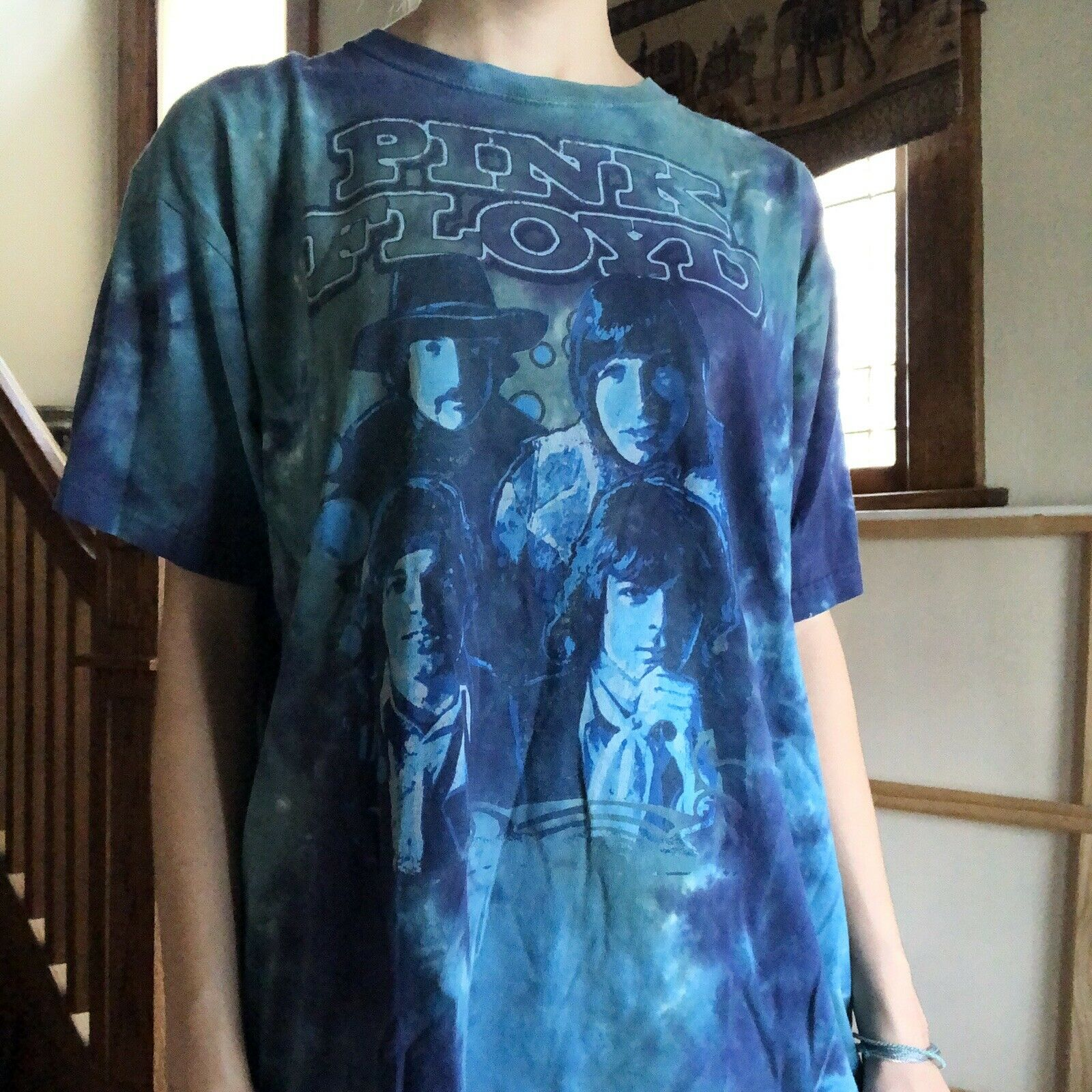 Vintage Pink Floyd Liquid Blue Tie Dye Y2K Blue C… - image 3