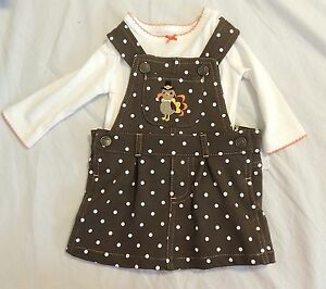 9c0fe8d2c New Carters Baby Girl First Thanksgiving Jumper Dress Turkey Sizes 3 ...