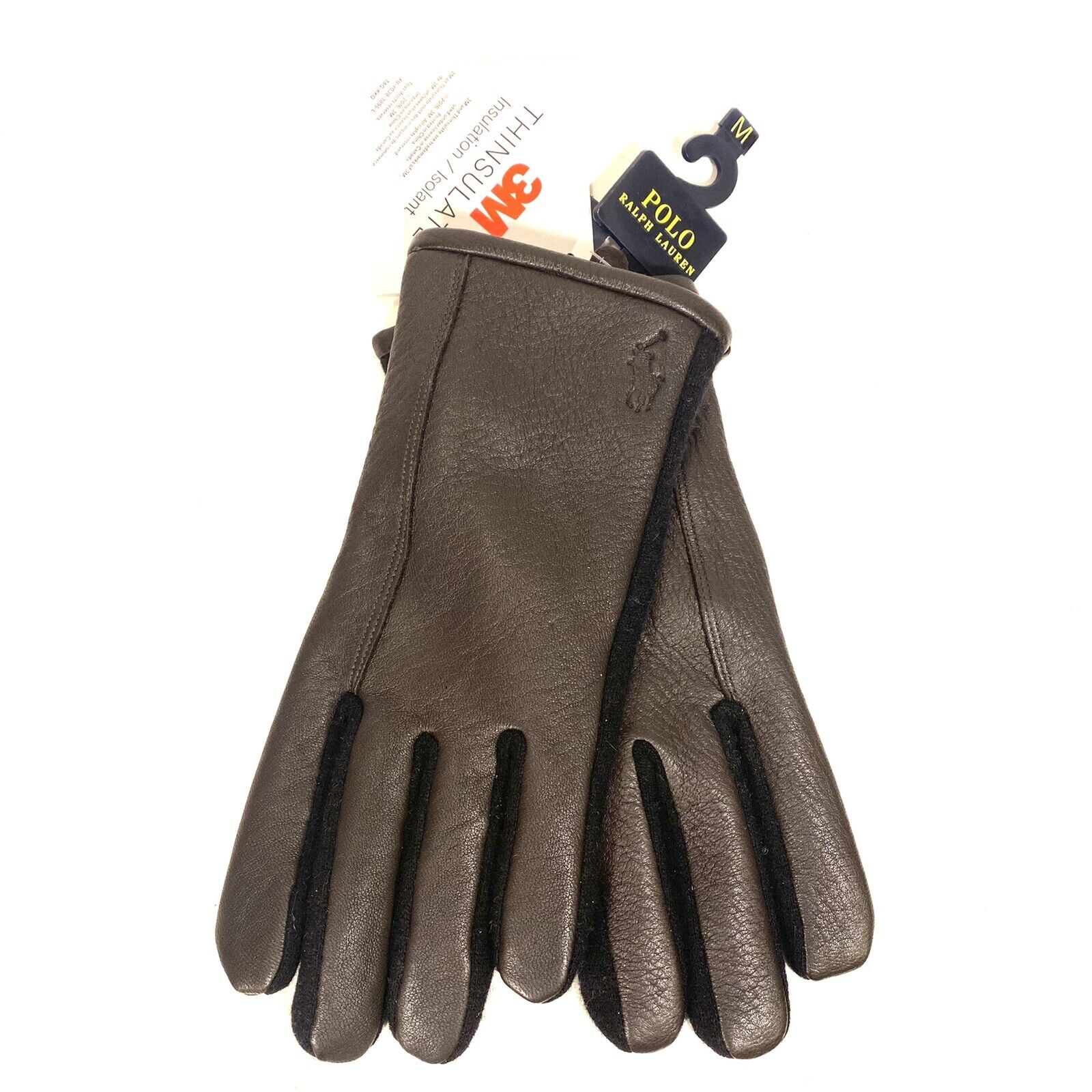 POLO RALPH LAUREN Mens Leather Touch Screen Compatible Gloves Brown (MSRP )