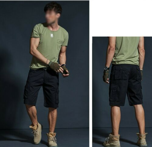 Men/'s Cargo Pants Shorts Loose Fit Outdoor Straight Multi-pocket Trousers New D