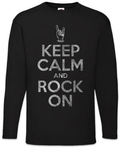 Keep Calm And Rock On Messieurs manches longues T-shirt mano cornuta corna Hard Rock main