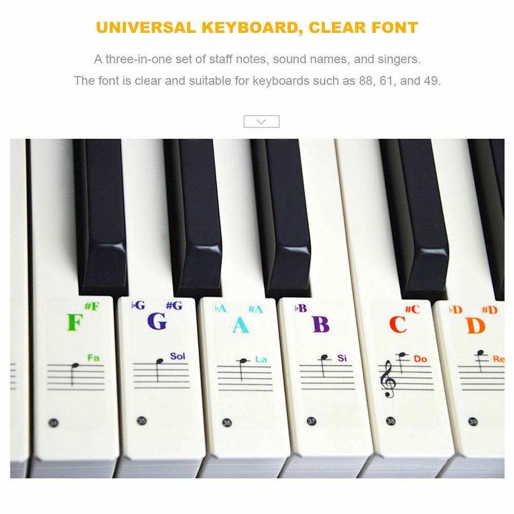Klavier Keyboard Noten Aufkleber Sticker für Instrumente mit 49 61 76 88 Taste