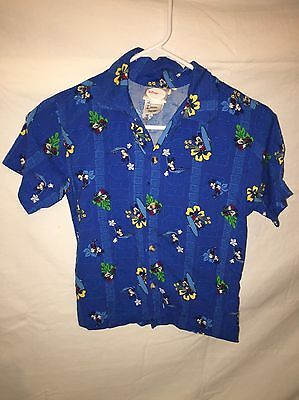 DISNEY Blue Boy's Hawaiian Shirt CRUISE WEAR Mickey Mouse - (Medium 7/8)