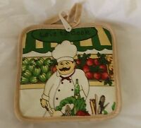 2 Fat Chef Printed Kitchen Pot Holders (7x 7'), Love To Cook, Beige Back