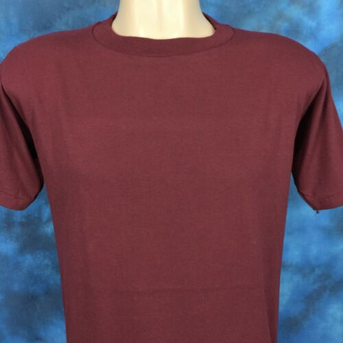 NOS vintage 80s JERZEES BY RUSSELL BURGUNDY MAROON BLANK T-Shirt SMALL thin