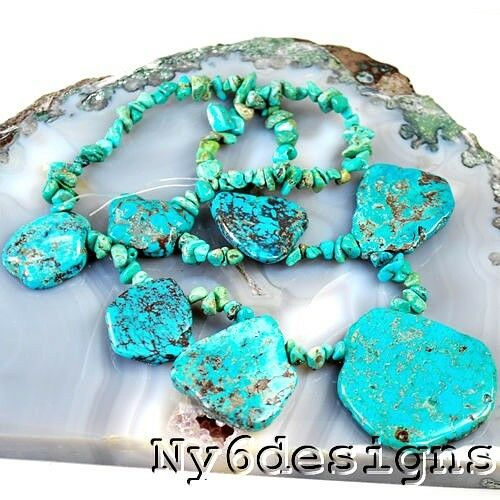 """TU556 Blue Natural Genuine Turquoise Rough Nugget Chip Beads 16/"""" b 17-38mm"""