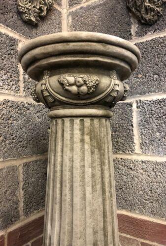 * Large Elegant Bacchus plinth stone garden ornament pillar swag ribbon grapes