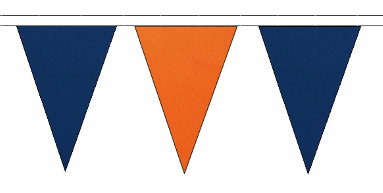 Royal azul & naranja Triangular Flag Bunting - 50m with 120 Flags