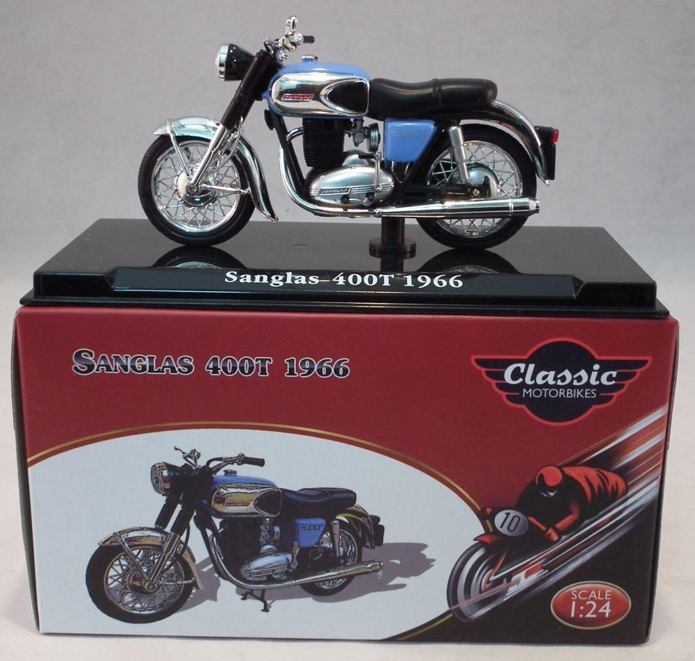con Rastreo 48 Post Clásico Motocicleta 4658126 Sanglas 400T 1966 1//24 Escala
