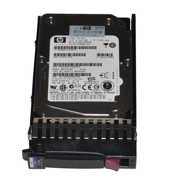 """HP DH072BAAKN 72GB 15K 2.5"""" SAS Hard Drive With Tray P/N: 459889-002"""