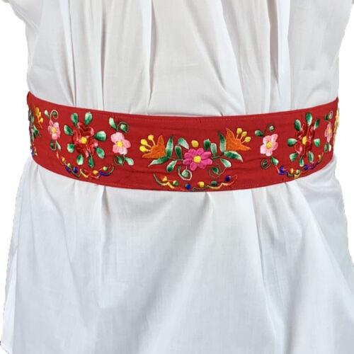 Cotton Mexican Womens Handmade Embroidered Woven Bohemian Hippie Belt Medium
