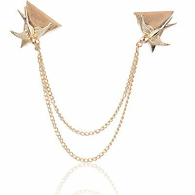 Elegant Dove Triangle Collar Tips Chain Bird Coat Statement Brooch Pin Breatpin