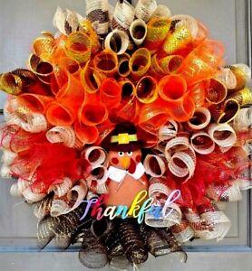 Handmade-Deco-Mesh-Thanksgiving-Turkey-Wreath-Fall-Autumn-Holiday-Door-Decor-24-034