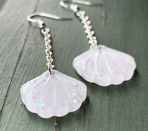 White Mermaid Shell Earrings with Holographic Glitter - Long Drop Chain Earrings
