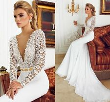New Mermaid V Neck Lace Wedding Dress Long Sleeves Bridal Gown Custom Made 6-18