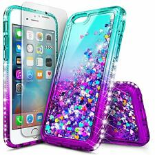 For Apple iPhone 6 6s 7 8 Plus Case Liquid Glitter Bling Cover + Tempered Glass
