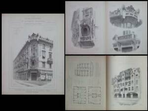Discipliné Turin, Casa Florio, Liberty -1905-gravures Architecture, Zurich, 45 Bleicherweg