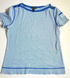 Women-039-s-Lauren-Jeans-Co-LRL-Ralph-Lauren-Size-Large-Blue-White-Stripes-Shirt