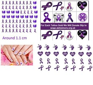 91b37df662135 Image is loading Alzheimer-Awareness-Collection-Nail-Art-Tattoos