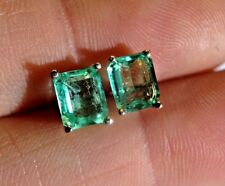 VS Clarity ! 1.89CTW Lustrous Colombian Emerald 14K Yellow Gold Stud Earrings