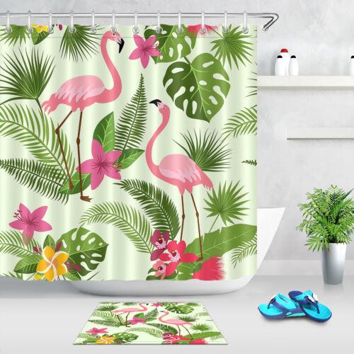 Floral Shower Curtain Pink Flamingo Bath Fabric Curtains Bathroom 12Hooks Carpet
