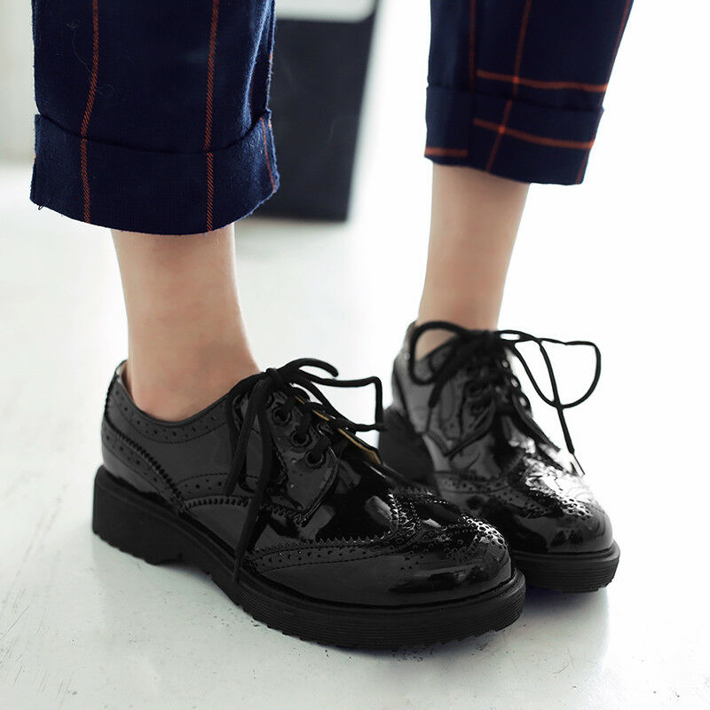 Women Brogues Chunky Low Heel Oxford Shoes Lace-up Patent Leather Fashion Shoes