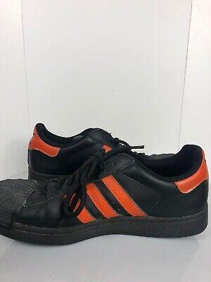 Pre-owned 2010 Adidas Superstar Men's Size 5.5 Black orange Leather Shoes G15722 | eBay